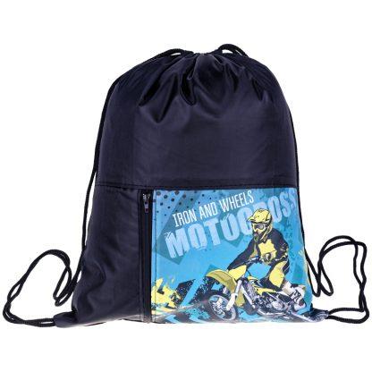 """Мешок для обуви 1 отделение ArtSpace """"Motocross"""", 340*410мм, карман на молнии"""