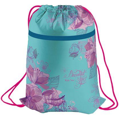 """Мешок для обуви 1 отделение Berlingo """"Flowers"""", 410*490мм, карман на молнии, с сеточкой"""