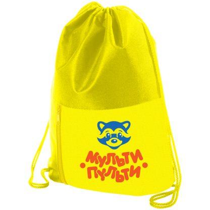 """Мешок для обуви 1 отделение Мульти-Пульти """"Приключения Енота"""", 340*420мм, карман на молнии, желтый"""