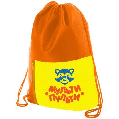 """Мешок для обуви 1 отделение Мульти-Пульти """"Приключения Енота"""", 340*420мм, карман на молнии,оранжевый"""