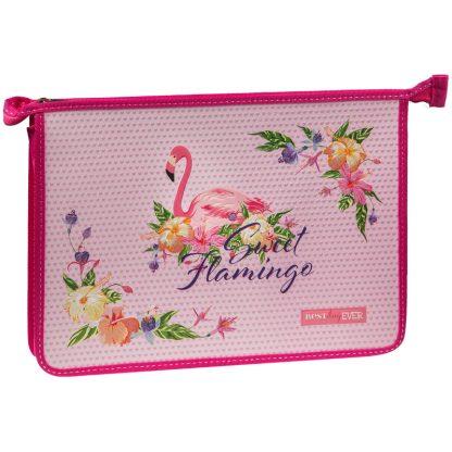 "Папка для тетрадей 1 отд., А4, ArtSpace ""Flamingo"", пластик-картон, конгрев, блестки,на молнии"