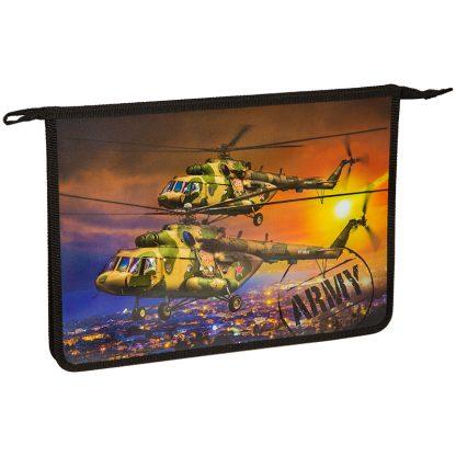 """Папка для тетрадей 1 отделение, А4, ArtSpace """"Военные вертолеты"""", пластик, на молнии"""