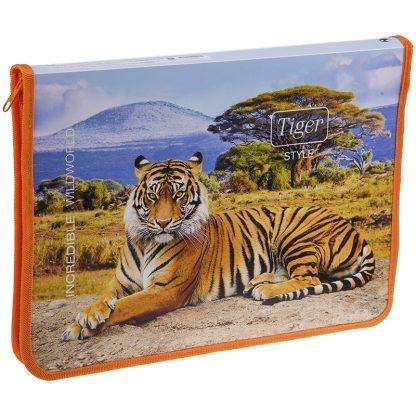 """Папка для тетрадей 1 отделение, А4, ArtSpace """"Дикие кошки. Tiger Style"""", пластик, молния вокруг"""