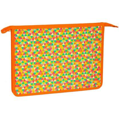 """Папка для тетрадей 1 отделение, А4, ArtSpace """"Паттерн. Оранжевый"""", пластик, на молнии"""
