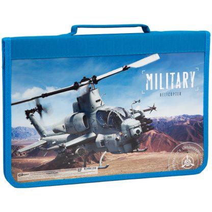 """Папка для тетрадей с ручкой 1 отд., А4, ArtSpace """"Военная техника. Вертолет"""", картон, молния вокруг"""